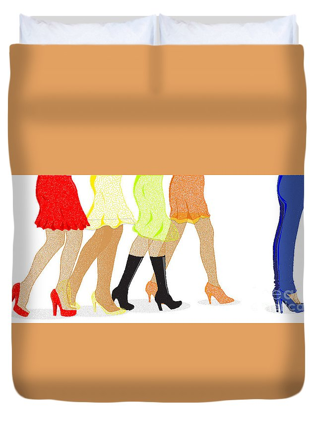 Legs Duvet Cover featuring the digital art Womens Leg Dots by Bigalbaloo Stock