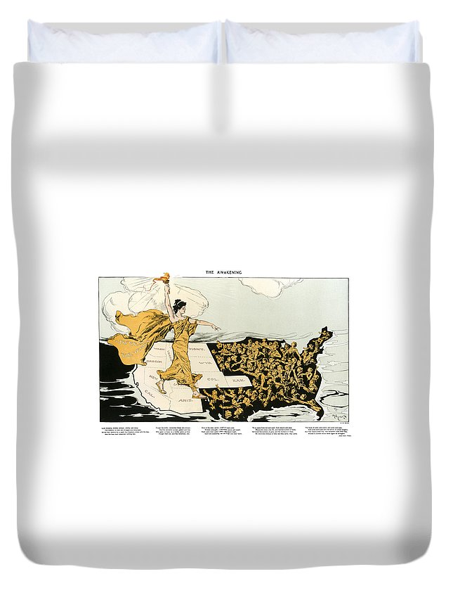 1915 Duvet Cover featuring the photograph Womens Suffrage, 1915 by Granger
