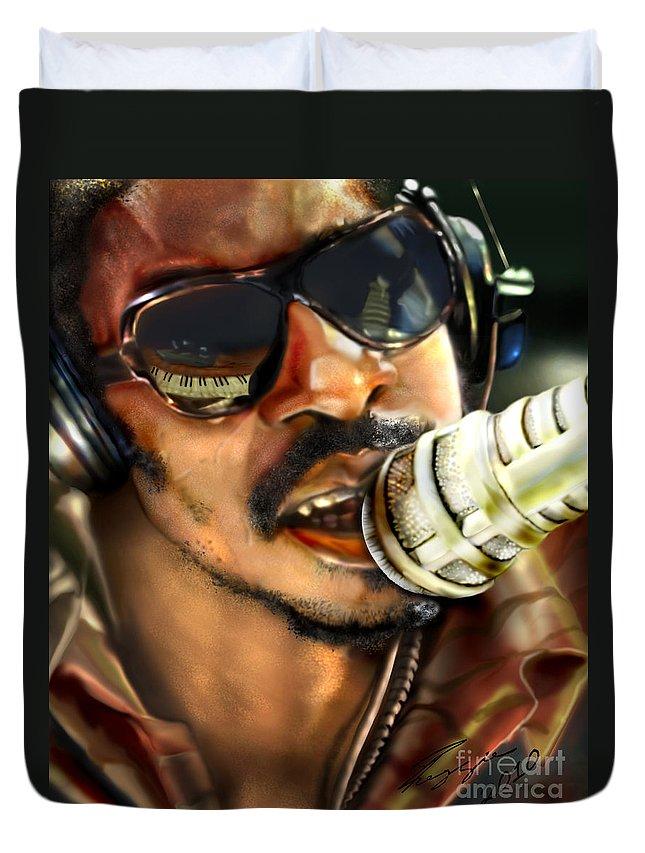 Stevie Wonder Duvet Cover featuring the painting Wonder - Seeing Beyond Sight by Reggie Duffie