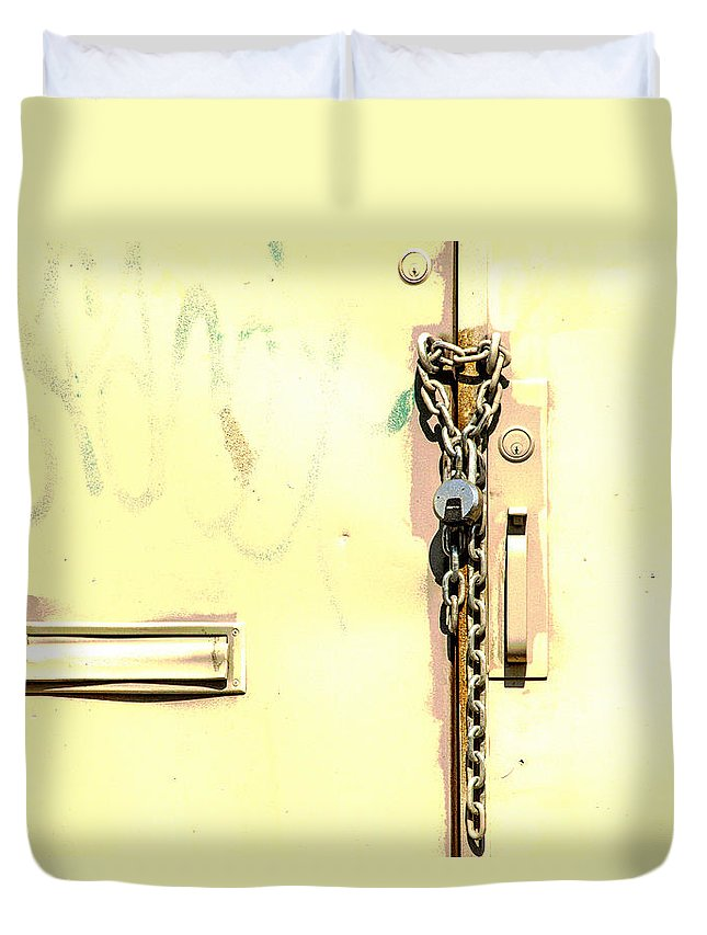 Door Duvet Cover featuring the photograph Wonderful Paint Job by Karol Livote