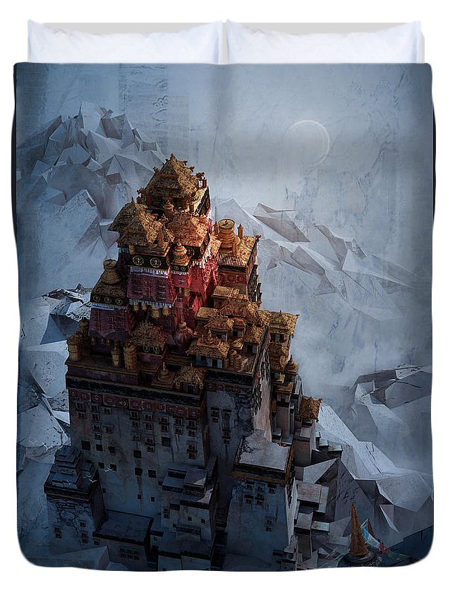 Landscape Duvet Cover featuring the digital art Wonders Holy Temple by Te Hu