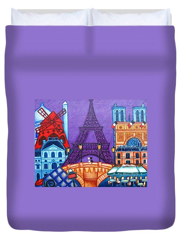 Paris Duvet Cover featuring the painting Wonders of Paris by Lisa Lorenz