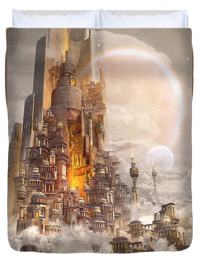 Landscape Duvet Cover featuring the digital art Wonders Tower Of Babylon by Te Hu