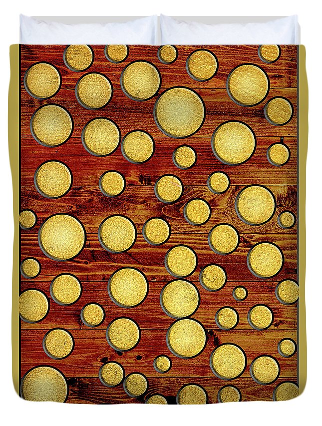 Wood Duvet Cover featuring the mixed media Wood And Gold by Gaspar Avila