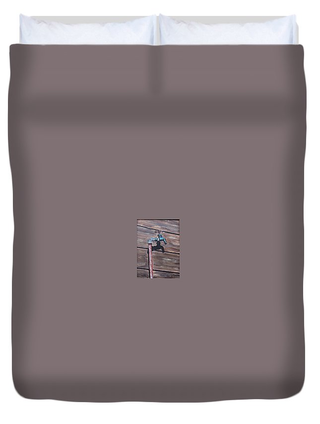 Still Life Metal Old Wood Duvet Cover featuring the painting Wood And Metal by Natalia Tejera