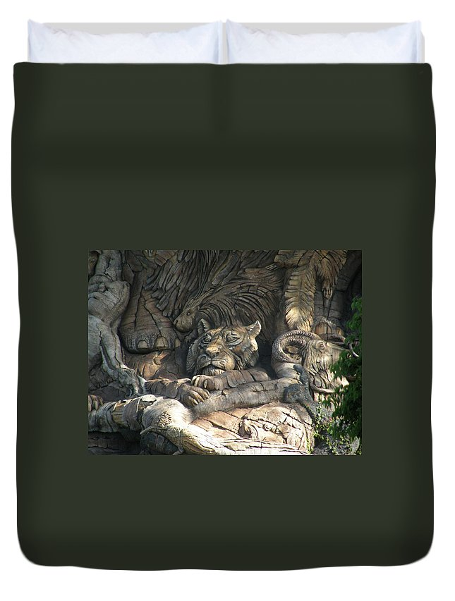 Wood Duvet Cover featuring the photograph Wood Carving by Alice Markham