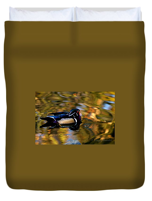 Clay Duvet Cover featuring the photograph Wood Duck by Clayton Bruster
