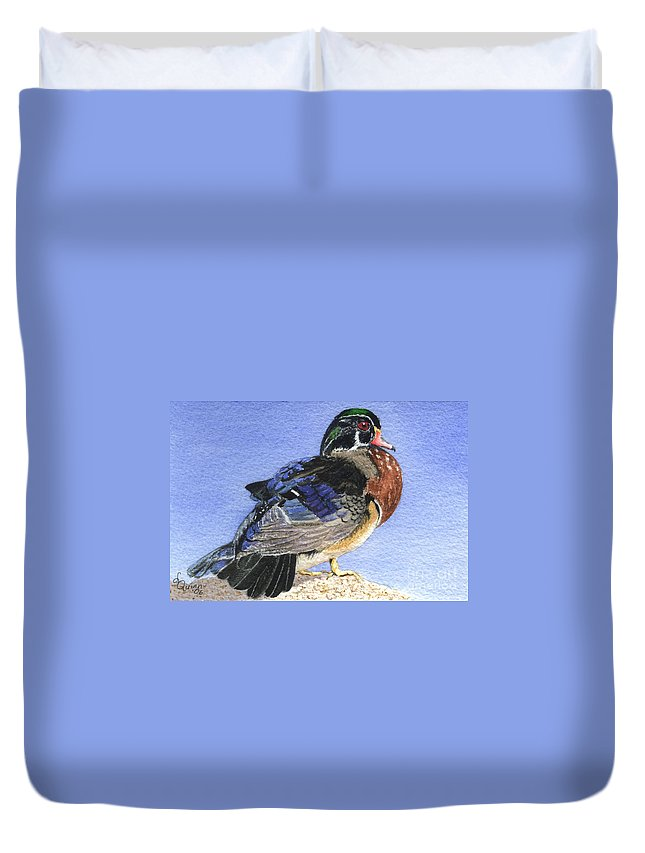 Duck Duvet Cover featuring the painting Wood Duck by Lynn Quinn