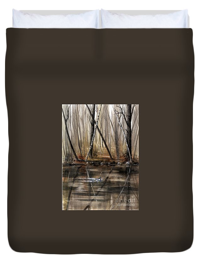 Nature Duvet Cover featuring the painting Wood Duck On Pond by Mary Tuomi
