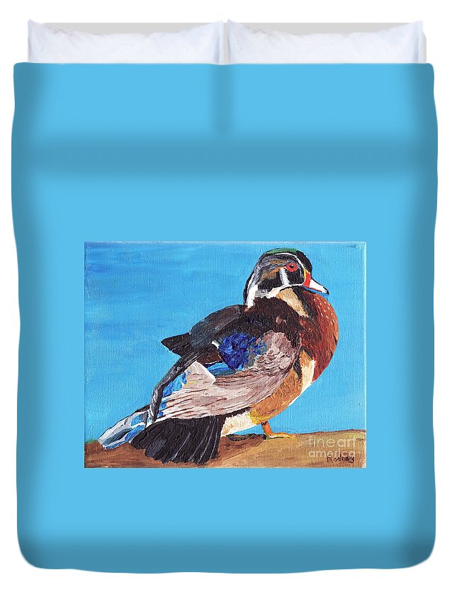 Ducks Duvet Cover featuring the painting Wood Duck by Rodney Campbell