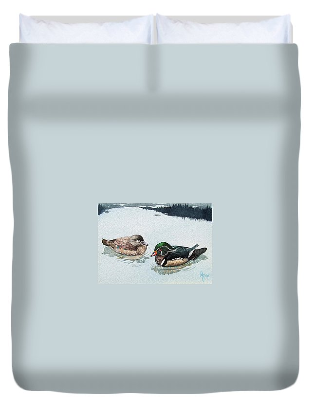Ducks Duvet Cover featuring the painting Wood Ducks by Gale Cochran-Smith