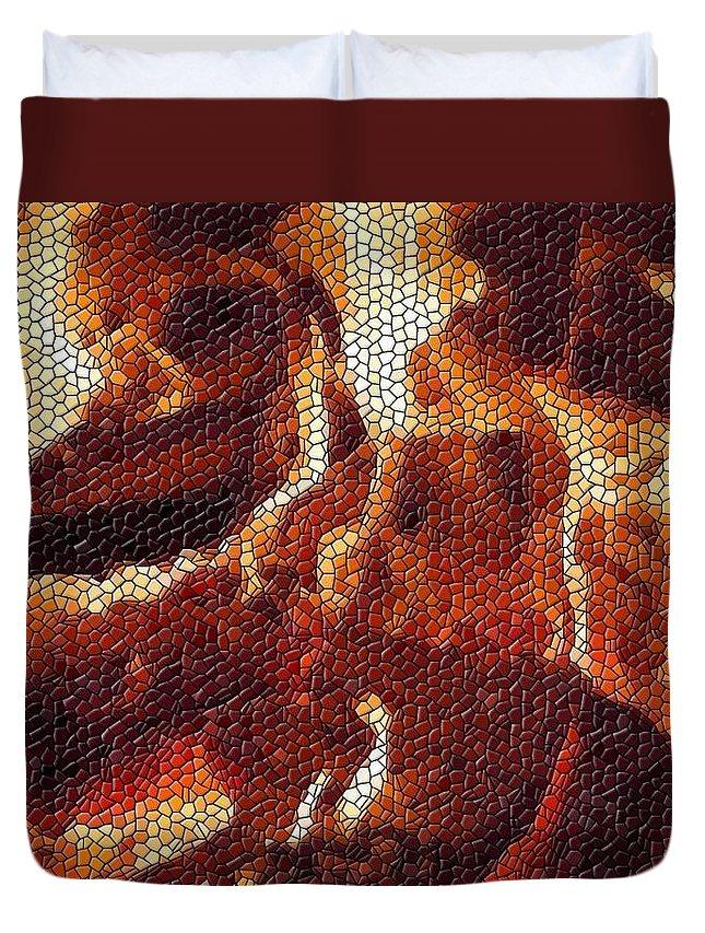 Wood Duvet Cover featuring the digital art Wood Fire Mosaic by Tim Allen