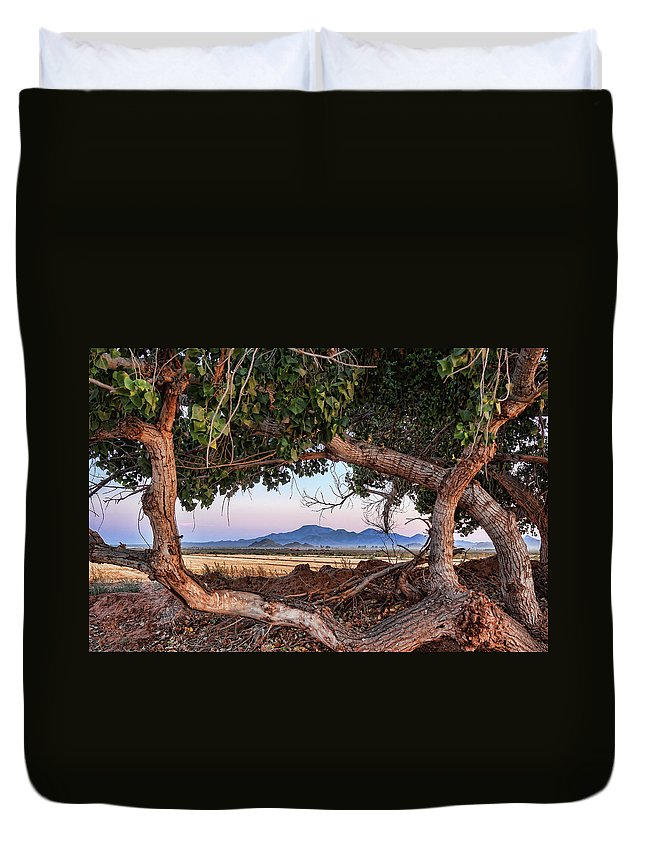 Landscape Duvet Cover featuring the photograph Wood Frame Window by Ryan Seek