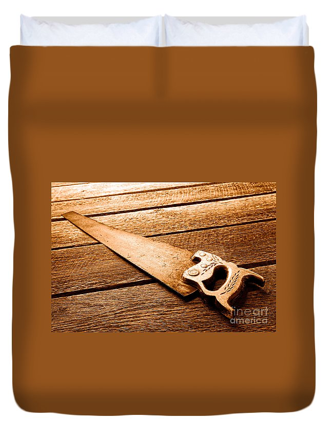 Carpenter Duvet Cover featuring the photograph Wood Saw - Sepia by Olivier Le Queinec