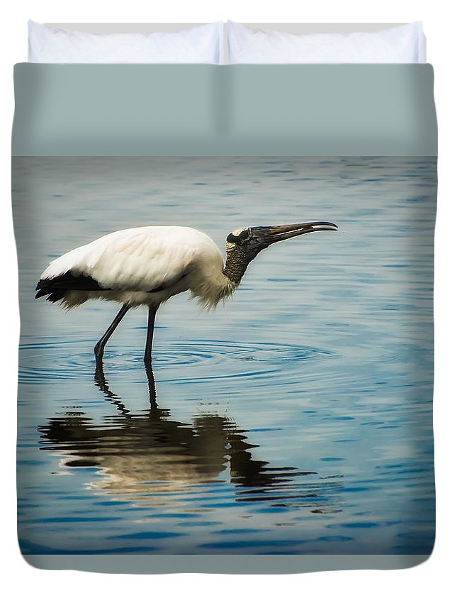Stork Duvet Cover featuring the photograph Wood Stork by Rich Leighton