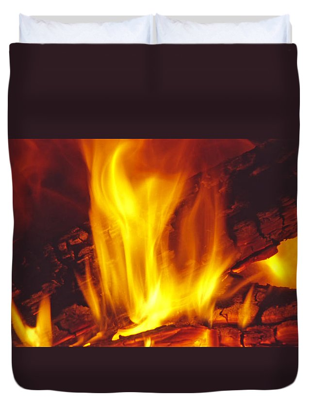 Fire Duvet Cover featuring the photograph Wood Stove - Blazing Log Fire by Steve Ohlsen