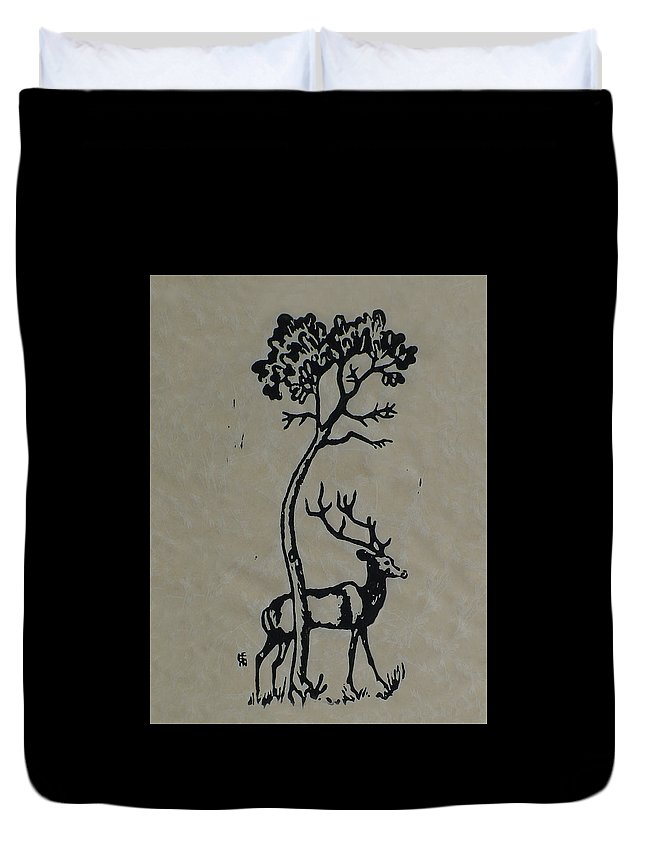 Woodcut Duvet Cover featuring the mixed media Woodcut Deer by Shirley Heyn