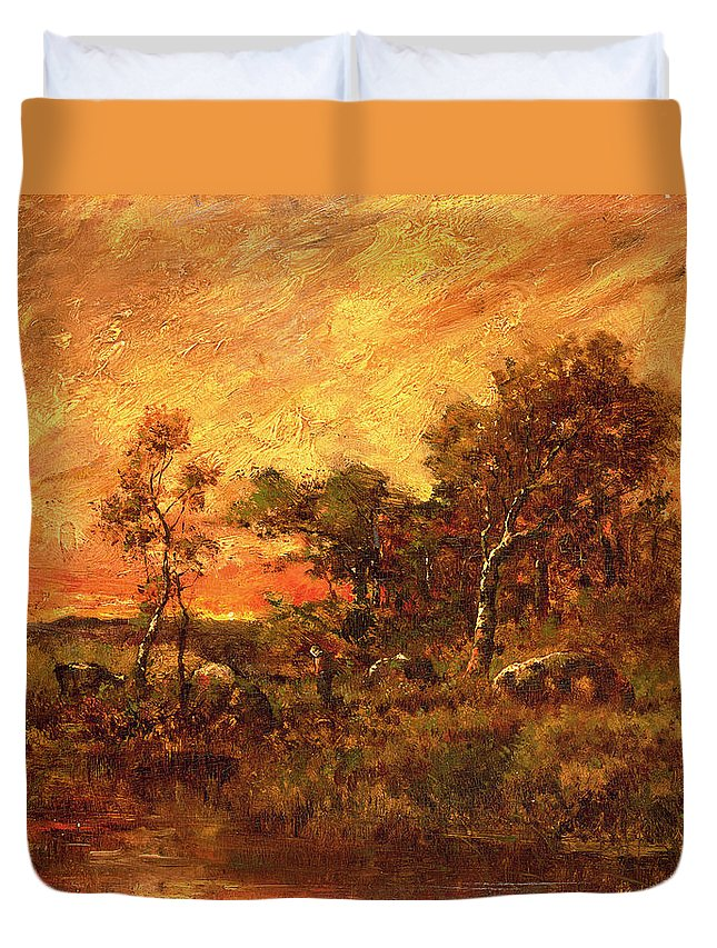 Wooded Duvet Cover featuring the painting Wooded Landscape With A Faggot Gatherer by Pierre Etienne Theodore Rousseau