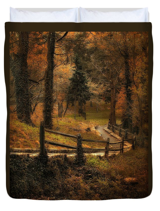 Woods Duvet Cover featuring the photograph Wooded Path by Jessica Jenney