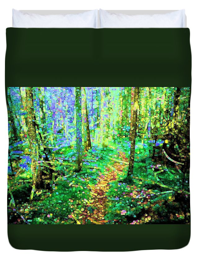 Nature Duvet Cover featuring the digital art Wooded Trail by Dave Martsolf