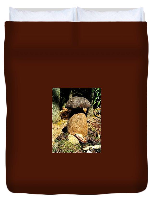 Mushroom Duvet Cover featuring the photograph Wooden Art by Juergen Weiss