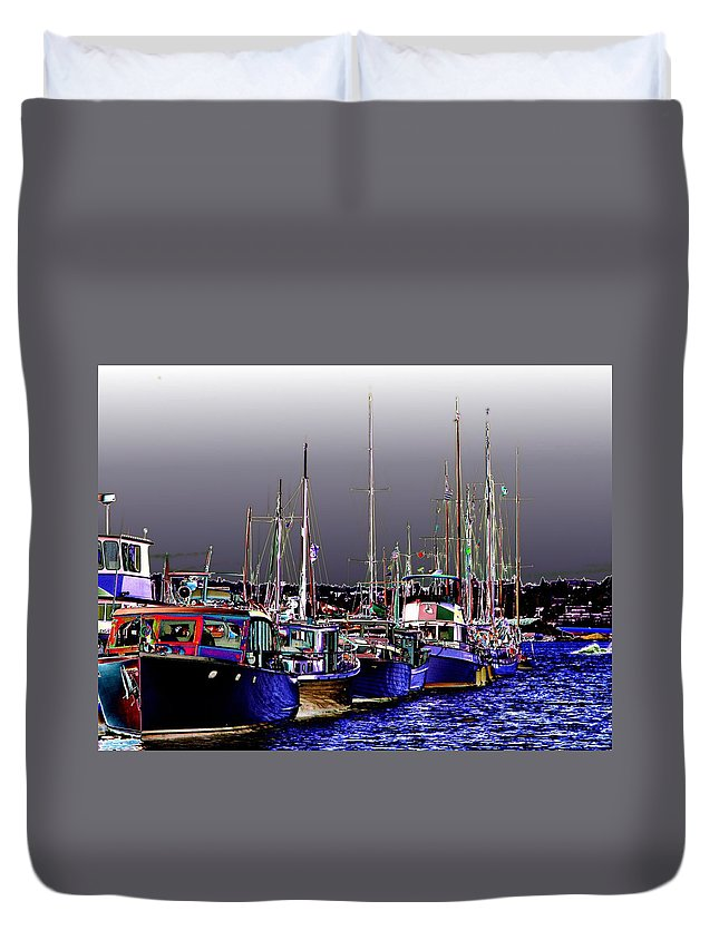 Seattle Duvet Cover featuring the digital art Wooden Boats 2 by Tim Allen
