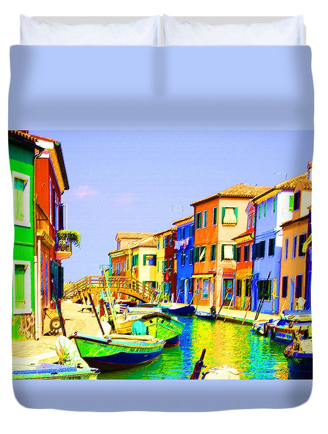 Burano Duvet Cover featuring the pastel Wooden Bridge To Despar by Donna Corless