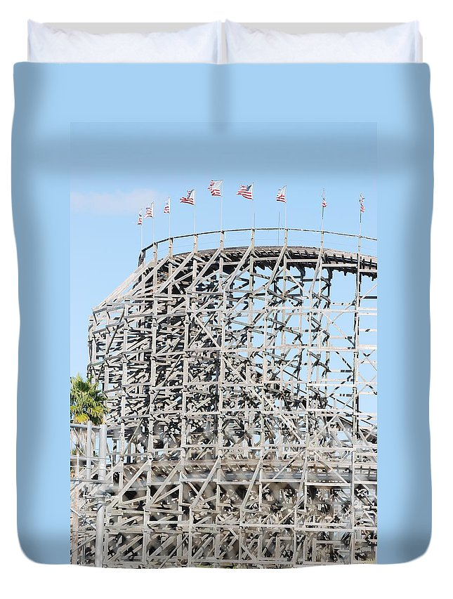 Pop Art Duvet Cover featuring the photograph Wooden Coaster by Rob Hans