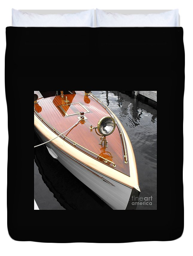 Wooden Boat Duvet Cover featuring the photograph Wooden Launch by Neil Zimmerman