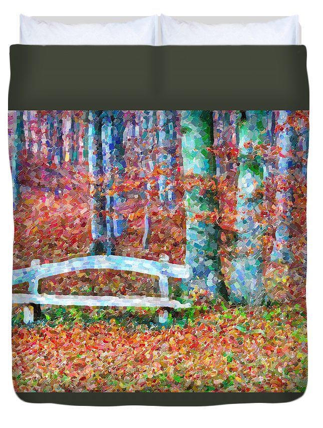 Wooden Bench Duvet Cover featuring the painting Wooden Park Bench In Dry Leaves by Jeelan Clark