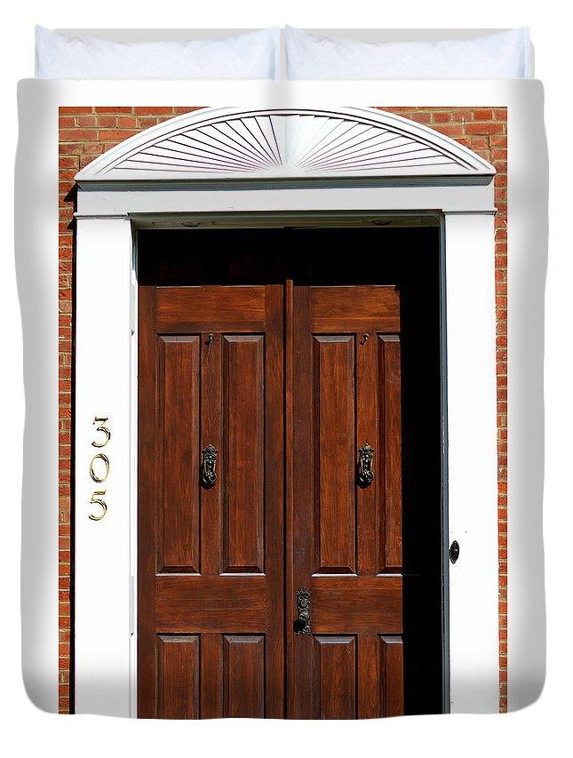 Door Duvet Cover featuring the photograph Wooden Portal by Belinda Stucki