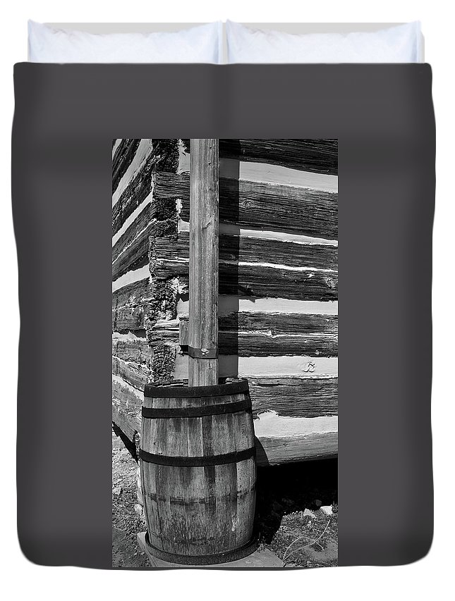 Lawrence Duvet Cover featuring the photograph Wooden Water Barrel by Douglas Barnett
