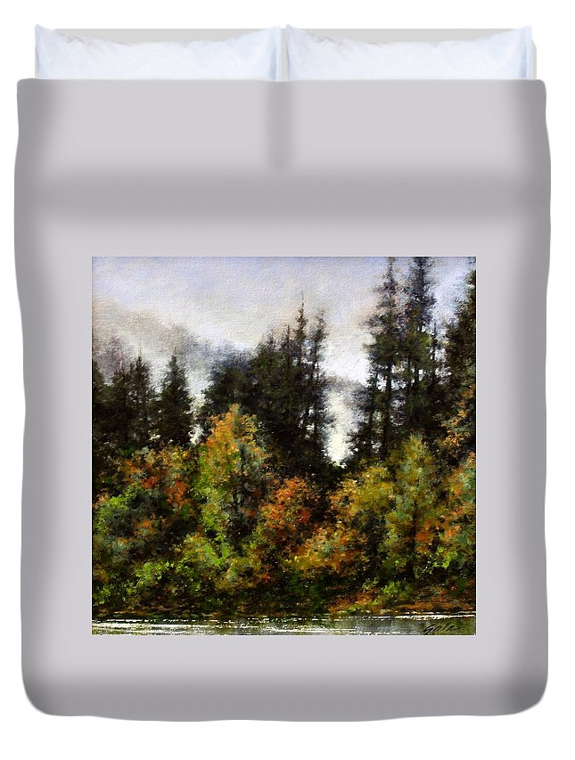 Painting Duvet Cover featuring the painting Woodland Bottoms In April by Jim Gola