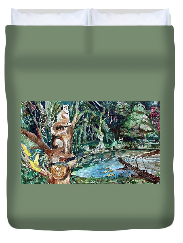 Squirrels Duvet Cover featuring the painting Woodland Critters by Mindy Newman