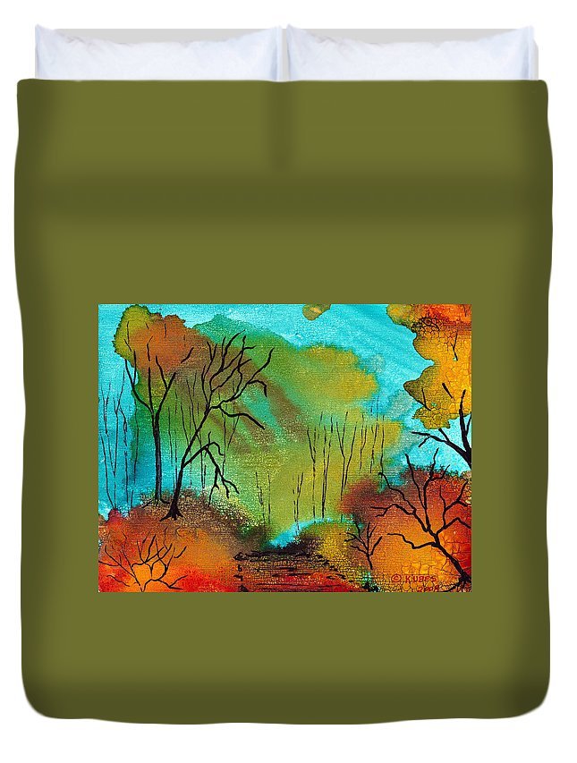 Woods Duvet Cover featuring the mixed media Woodland Path by Susan Kubes