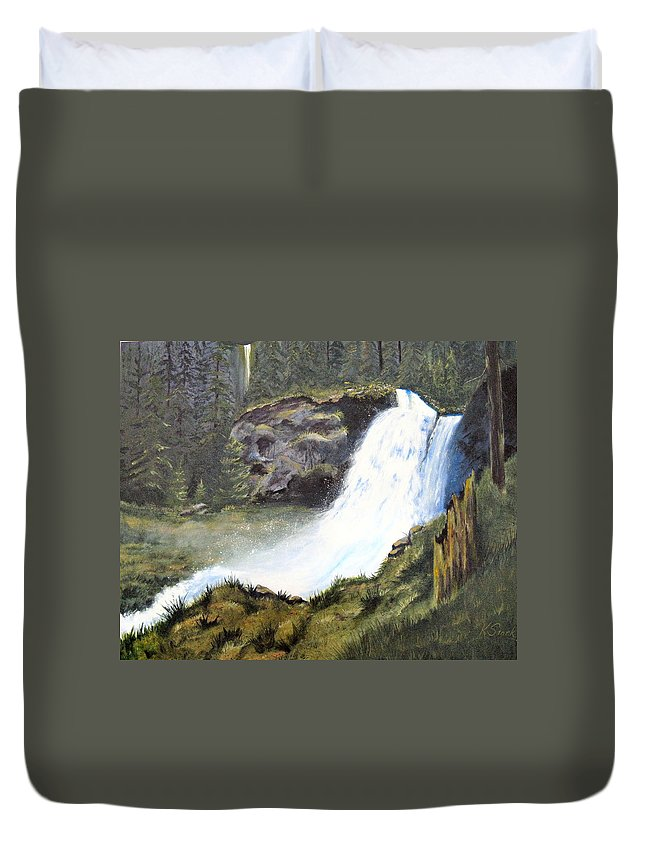 Forest Duvet Cover featuring the painting Woodland Respite by Karen Stark