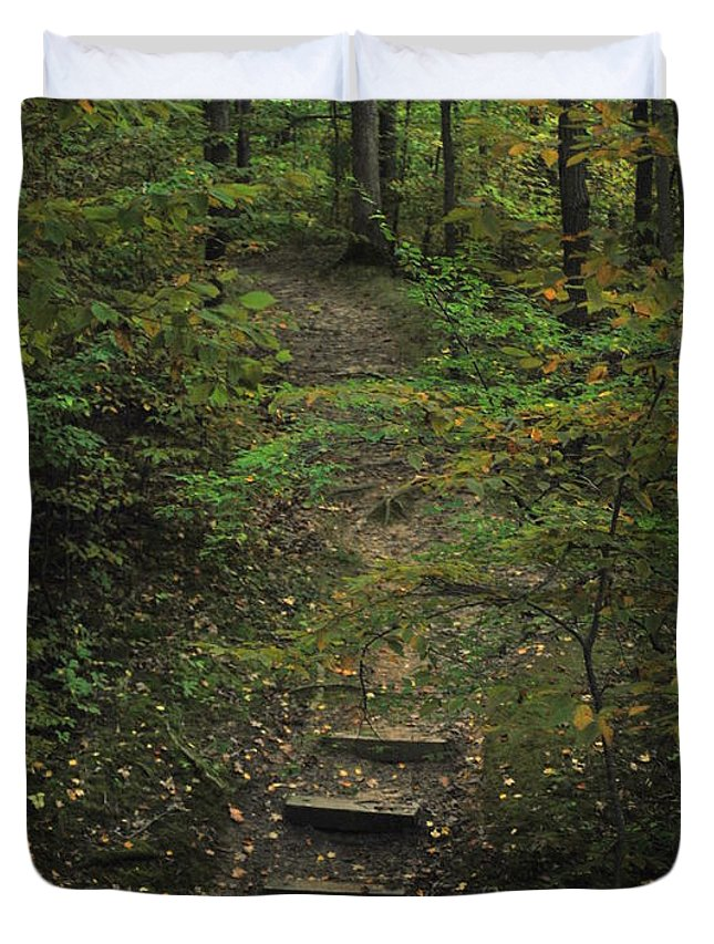 Wood Duvet Cover featuring the photograph Woodland Steps by Michelle Hastings