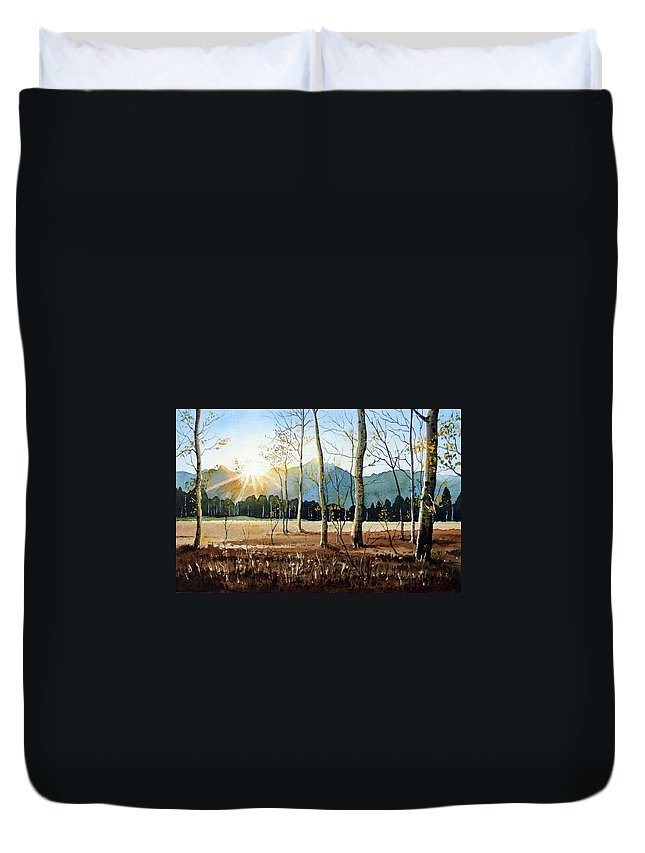 Landscape Duvet Cover featuring the painting Woodland Sunset by Paul Dene Marlor