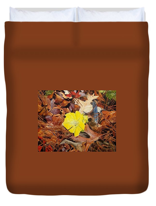 Woods Duvet Cover featuring the painting Woodland Surprise by Jean Blackmer