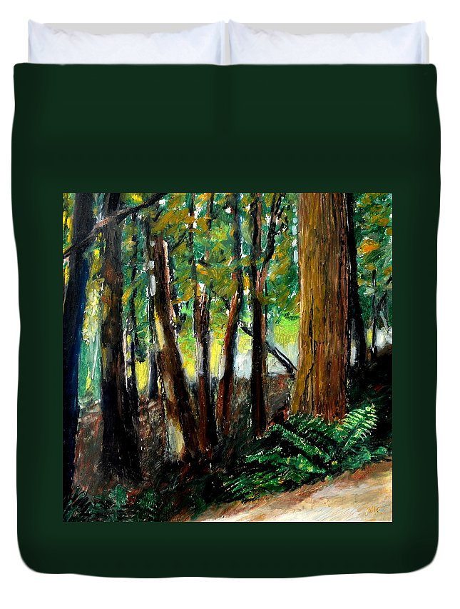 Livingston Trail Duvet Cover featuring the drawing Woodland Trail by Michelle Calkins