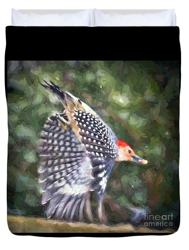 Woodpecker Duvet Cover featuring the painting Woodpecker Wings by Kerri Farley