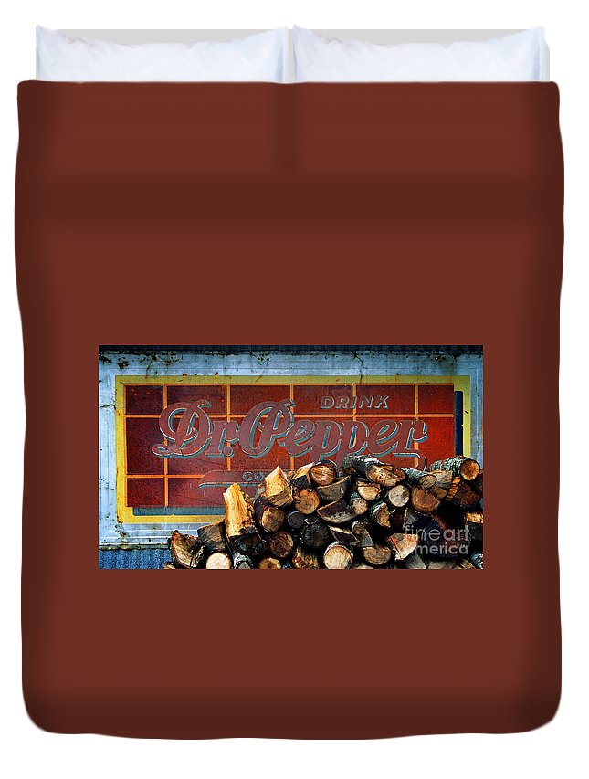 Dr Pepper Duvet Cover featuring the photograph Woodpile With Taste - Dr Pepper Rustic Antique Red Country Southwest by Jon Holiday