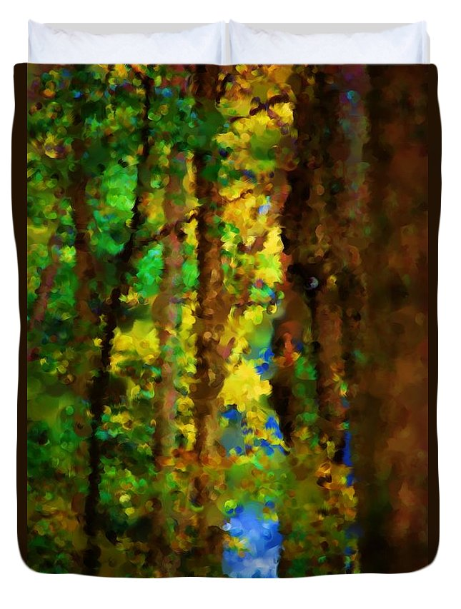 Digital Photograph Duvet Cover featuring the photograph Woods Approach To Lake by David Lane