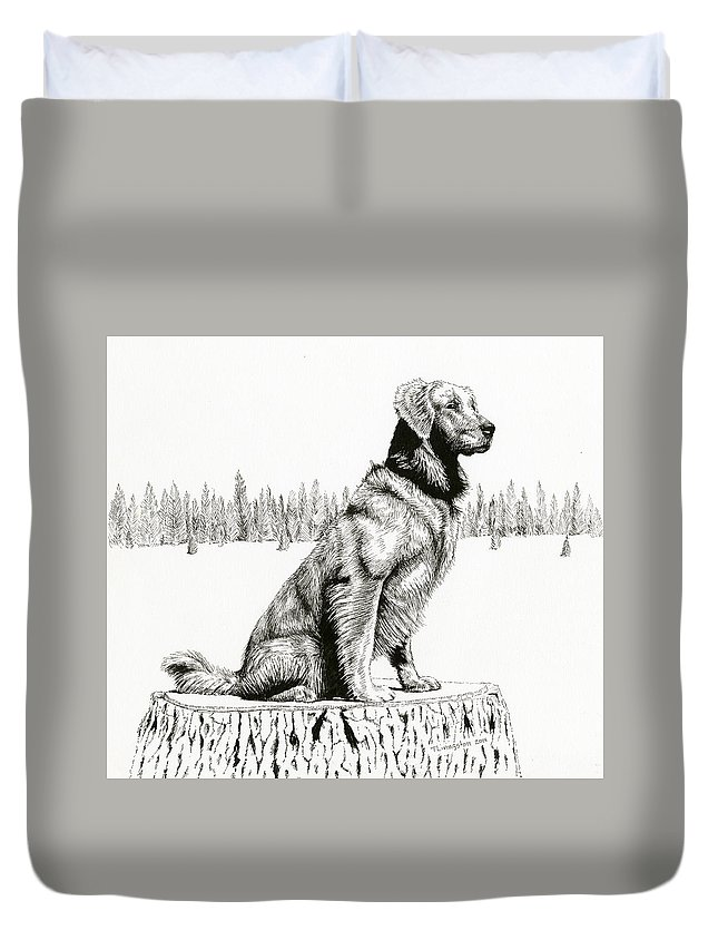 Forester's Dog Duvet Cover featuring the drawing Woods Dog by Timothy Livingston