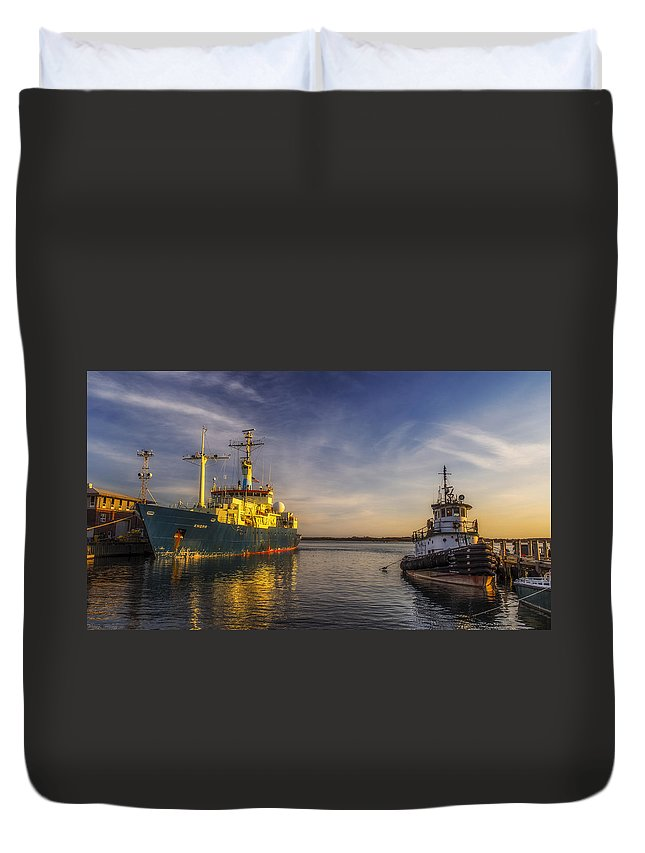 Landscape Duvet Cover featuring the photograph Woods Hole Ship Yard by Mark Papke