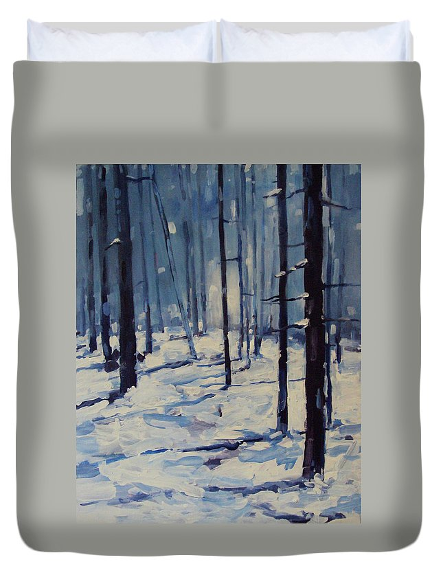 Duvet Cover featuring the painting Woods by Kaitlin Foster