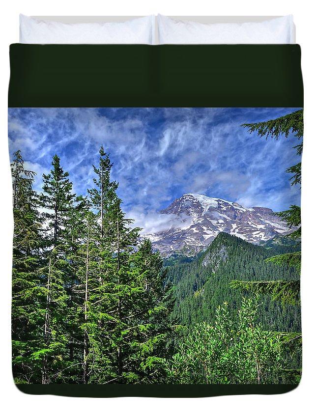 Mt. Rainier National Park Duvet Cover featuring the photograph Woods Surrounding Mt. Rainier by Don Mercer