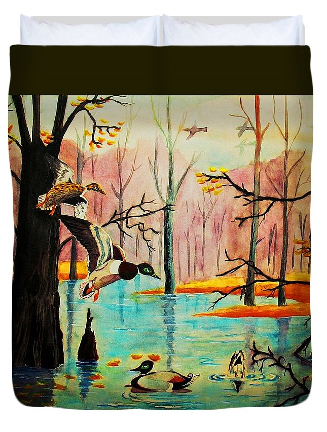 Ducks Duvet Cover featuring the painting Wooodland Wonders by Hazel Holland