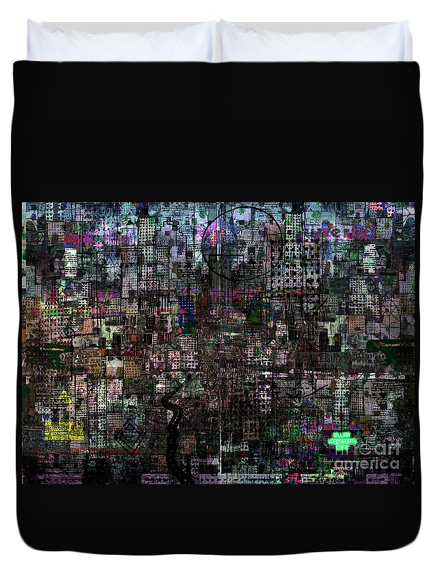 Wordsworth Duvet Cover featuring the digital art Wordsworth Cafe by Andy Mercer