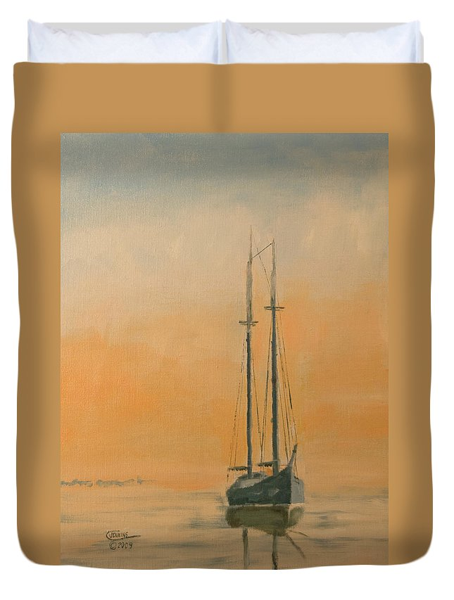 Boat Duvet Cover featuring the painting Work Boat At Rest by Christopher Jenkins